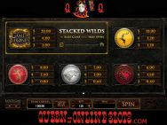 Game of Thrones Slots Pay Table