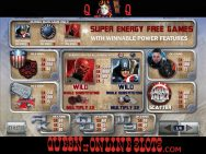 Captain America Slots Paytable