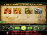 Creature From the Black Lagoon Slots Pay Table