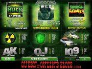 Incredible Hulk Slots Pay Table
