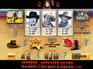 John Wayne Slots Pay Table