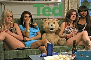 Ted on Couch With Girls