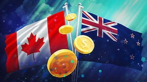 Canadian and New Zealand Flags with Gold Coins