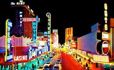 Old Vegas at Night Vintage